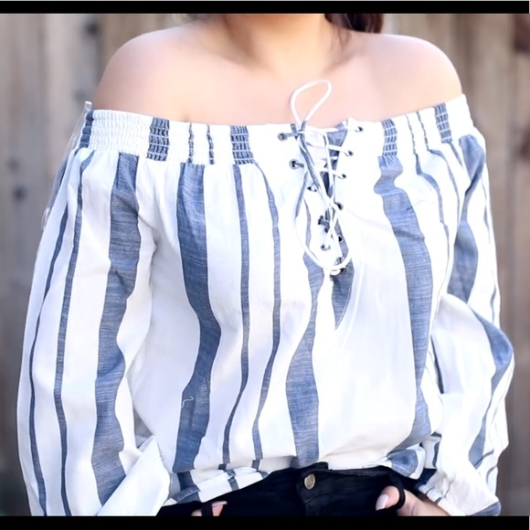 e688a7eb4df Missguided Tops | Blue And White Stripes Off The Shoulder Top | Poshmark